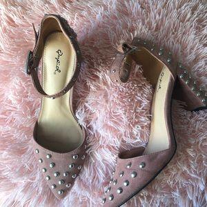 ‼️Mauve Pink Suede Studded Block Heels‼️